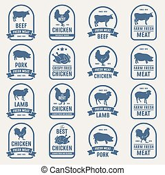Big set of meat labels 001 - Big set of meat labels, fresh...