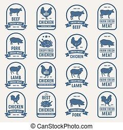Big set of meat labels 001 - Big set of meat labels, fresh...