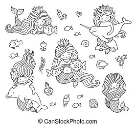 Big set of mermaids with different animals.