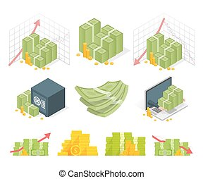 Big set of money icons. Piles dollars and coins. Isometric vector illustration