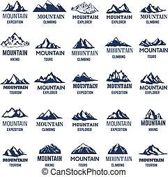 Big set of mountain icons. Design element for logo, label ,emblem, sign.