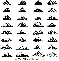 Big set of mountain icons isolated on white background. Design elements for logo, label, emblem, sign.