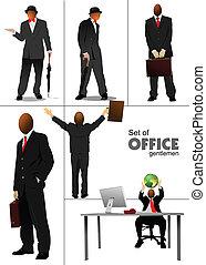 Big set of office people silhouett