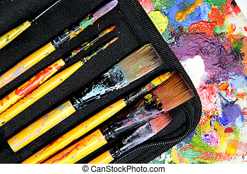 Big set of paintbrushes