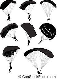Big set of parachutists in flight