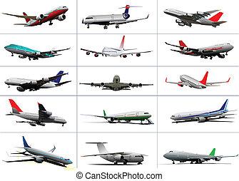 Big set of passenger planes. Taking off. Landing. On the air...