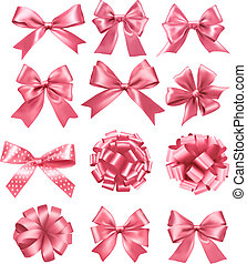 Big set of pink gift bows and ribbons. Vector illustration.
