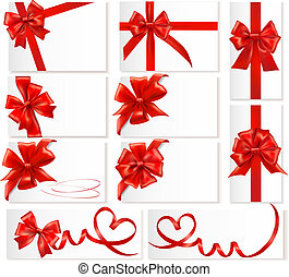 Big set of red gift bows with ribbons.