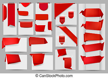 Big set of red origami paper banner