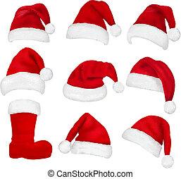 Big set of red santa hats and boot. Vector.
