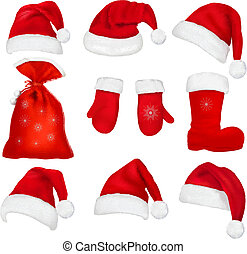 Big set of red santa hats and clothing.