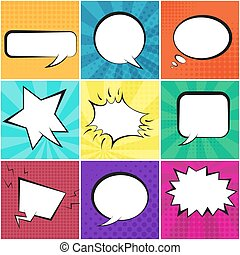 Big set of retro speech bubbles with backgrounds