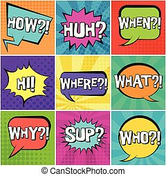 Big set of retro speech bubbles with questions