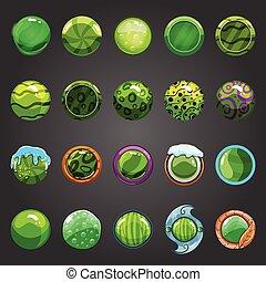Big set of round green button