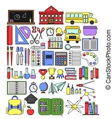Big set of school equipment in cartoon style.