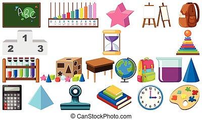 Big set of school items on white background