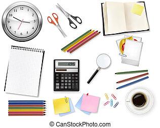 Big set of school supplies. Vector.