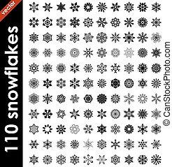 Big set of snowflake shapes isolated on white background.