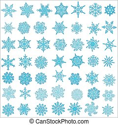 Big set of snowflakes. Holiday collection. Blue snowflakes collection isolated on white background. Vector illustration.
