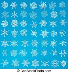 Big set of snowflakes. Holiday collection. White snowflakes collection isolated on blue background. Vector illustration.