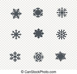 big set of snowflakes. Snowflake Icon. Flat logo of snowflake isolated on white background. New Year and winter symbol. Vector illustration.