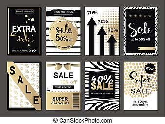 Big Set of social media sale website and mobile banner templates. Vector banners, posters, flyers, email, newsletter, ads, promotional material. Typography discount card design