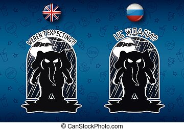 Big set of stickers in English and Russian languages.Elephant . Vector, cartoon