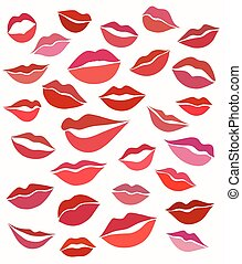 Big set of stylized graphics lips