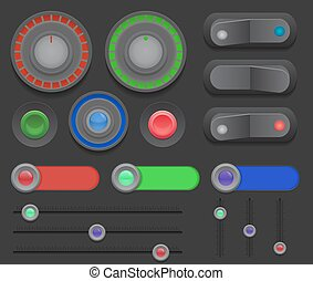 Big set of switches, buttons, sliders on a dark background.