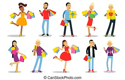 Big Set Of Ten Vector Illustrations With Shopping Concept