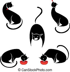 Big set of the black cats. Illustration on white background