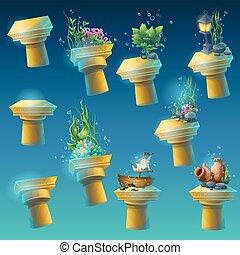 Big set of underwater ancient columns