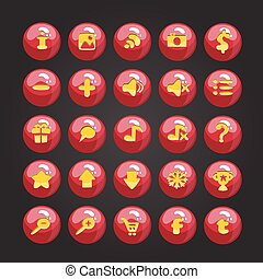Big set of vector button for game
