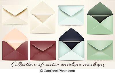 Big set of vector envelope mockups for design