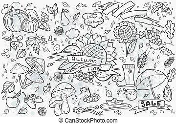 Big set of vector hand-drawn doodle
