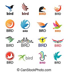 big set of vector logos birds