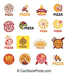 big set of vector logos pizza
