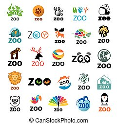big set of vector logos zoo