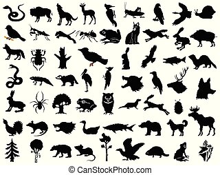 Big set of vector silhouettes of animals, plants and landscapes