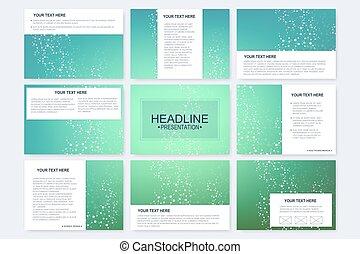 Big set of vector templates for presentation slides. Modern graphic background structure molecule and communication. Scientific pattern atom DNA. Medical, science, chemistry design.