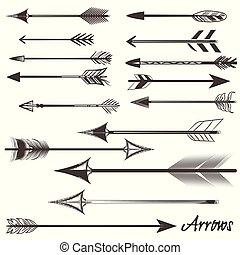 Big set of vector tribal arrows for design