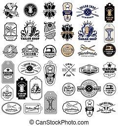 Big set of vector vintage tailor badges, stickers, emblems , signage