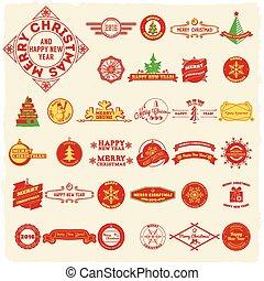 Big set of vintage Christmas labels