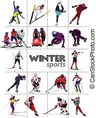 Big set of Winter sports. Vector i