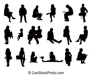 big set of black silhouettes of women of different ages seated in different postures reading, speaking, writing, talking on the phone, carrying about their children or just watching, front and profile views