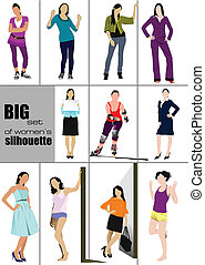 Big set of women%u2019s` silhouette. Vector illustration
