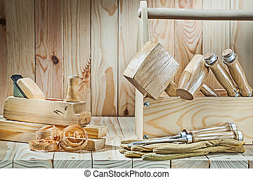 big set of woodworkers tools on wood background