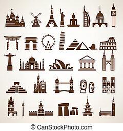 big set of world landmarks and historic buildings vector silhoue