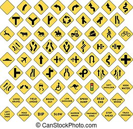 Big set of yellow road signs on white
