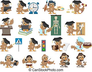 Big set owl teacher. Cartoon bird teacher. Isolated on white...